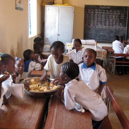 Lunch hour at the school in the classrooms in the first years