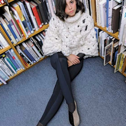 Chunky wool sweater - Victoria Hill for Esprit Limited Edition Royal College of Art, black catsuit - Goodone, bi-colour platforms - Nina Dolcetti