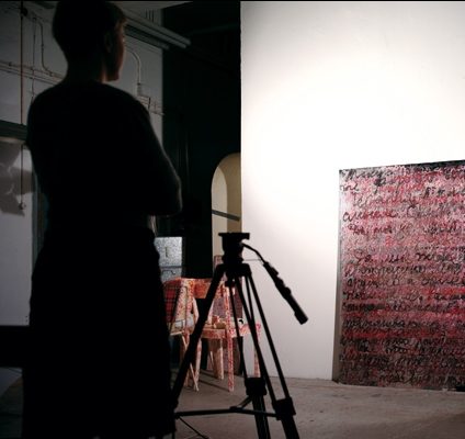 Studio in Dusseldorf, work: Look How Beautiful, 2011, acrylic, glitter on PVC Mirror