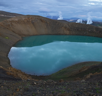 Krafla volcano crater and geothermal powerstation, Iceland