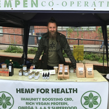 Dima and the Hempen shop at Marylebone farmers market in central London